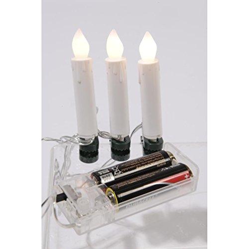10er LED Kerzen Lichterkette warmweiß mit Befestigungsclips Weihnachtsbaumlichterkette batteriebetrieben Innen