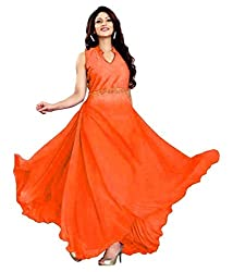 Vadaliya Enterprise Women's Velvet + Net Orange Gown