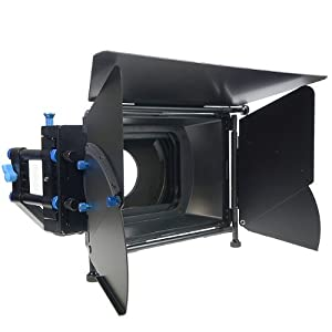 ePhoto Pro DSLR RIG FOLLOW FOCUS Matte Box with 2 Stage 15mm Swing away Arm, Top French Flags & Side Wings, Rubber Donut, Filter Stage and Filter Tray M2