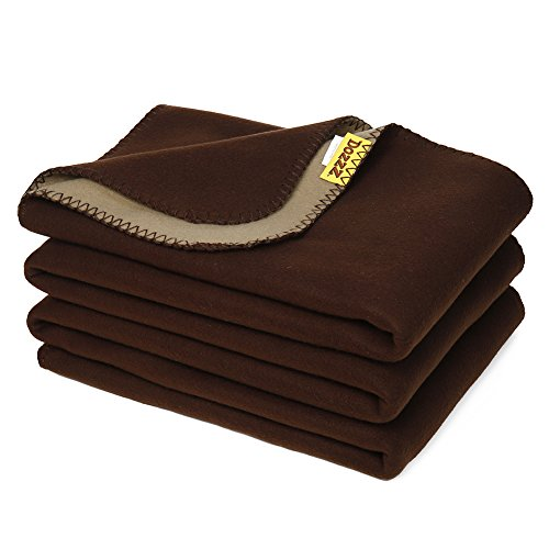 DOZZZ Twin Polar-Fleece Thermal Blanket Brown - Reversible Fleece Blanket Extra Soft Brush Fabric, Super Warm, Lightweight & Easy Care, Couch, Bedding Summer Throw Blanket 90 x 60 Inch