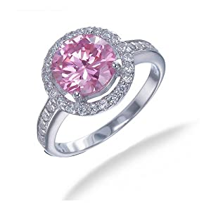 2.50 CT Pink and White CZ Ring in Sterling Silver In Size 7 (Available In Sizes 5 - 9)