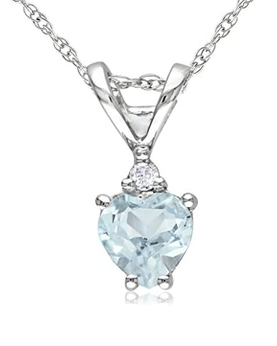 Rina Limor Aquamarine Heart & Diamond Pendant Necklace As You See