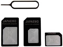 JAPAEMO 【Amazon限定】SIM変換アダプター 4点セット (標準, マイクロ, nano) for iPhone5/4S/4/3GS/3用 ブラック A-JE-NANO-SET-BK