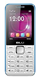 BLU Tank II T193 Unlocked GSM Dual-SIM Cell Phone with Camera and 1900 mAh Big Battery - Unlocked Cell Phones - Retail Packaging - White Blue