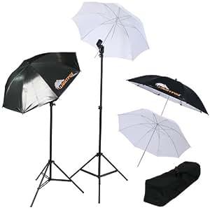 4 parapluies éclairage photo - 2 trépieds pour éclairage - 2 parapluies blancs - 2 parapluies argentés réflecteurs - 2 têtes d'éclairage - 1 sac de transport