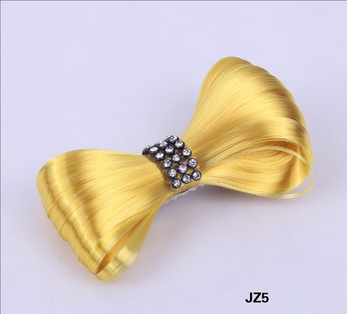 Aokeshen New 1pc 8CM Fashion Mini Lady Gaga Women CZ Extension Tie Bow Bowknot Hairpiece Clip Headwear Hairpin Styling Synthetic Hair Extension Ponytail Holder Cosplay Party Versatile JZ5