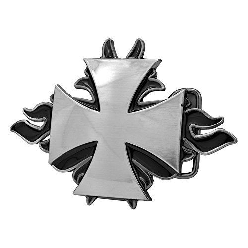 Buckle Rage Adult Mens Maltese Cross Flames Gothic Enameled Belt Buckle Silver