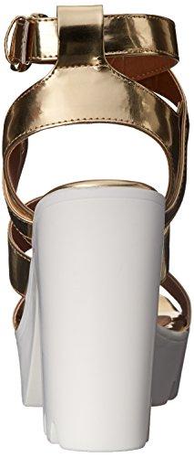 Qupid Women's Crank-03 Platform Sandal, Gold, 6 M US