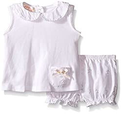 Biscotti Baby Tiny Petals Top and Bloomer Set, White, New Born