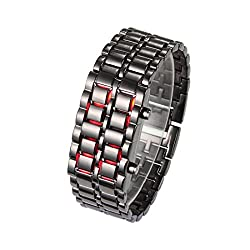Fengfanglin Stainless Steel Black Belt Red LED Bracelet Sport Digital Watch - For Men, Boys