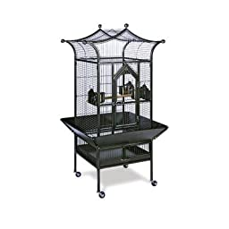 Prevue Hendryx Small Royalty Wrought Iron Bird Cage / Safe With Locks And Stand, Color - Black