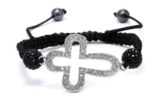 Authentic Black Diamond Color Crystals Cross Shape Adjustable Bracelet, Now At Our Lowest Price Ever but Only for a Limited Time!