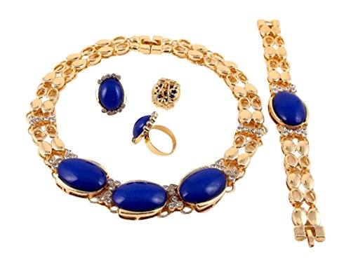 Goldtone Joined Bead Blue Rhinestone Necklace Bracelet Ring and Earrings Set (Blue)