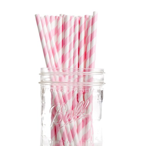 Dress My Cupcake Bubblegum Pink Striped Paper Straws, 50-Pack front-517252