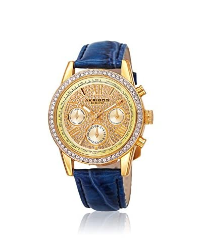 Akribos XXIV Women's AK871BU Ornate Blue Leather Watch