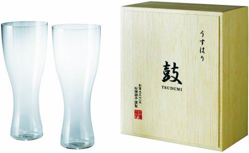 うすはり ビールグラス(ピルスナー) (355ml)木箱入り2個組
