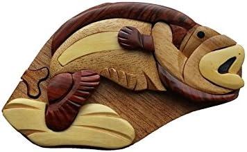 Handmade Wooden Intarsia Wood Puzzle Trick Secret Fish Puzzle Box 3200