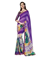Inddus Exclusive Women Fashionable Purple Georgette Printed Saree