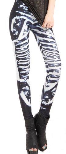 erdbeerloft - Skelett Leggings Damen Mädchen, Größe XS-L, schwarz weiß Karneval Kostüm Hose Pants