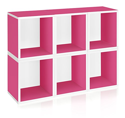 Way Basics Eco Stackable Modular Storage Cubes Plus (Set of 6), Pink (made from sustainable non-toxic zBoard paperboard) (Shelving Modular compare prices)