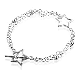 Sterling Silver Stars &#038; 2-Strand Oval Link Toggle Bracelet - 7.7&#8243;