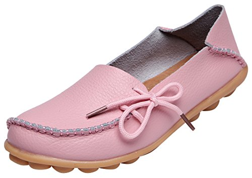 Serene Womens Leather Cowhide Casual Lace Up Flat Driving Shoes Boat Slip-On Loafers (9B(M)US, Pink)
