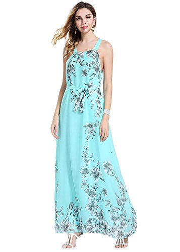 Eleter® Women's Bohemia Floral Chiffon Long Dress Summer Beach Maxi Dress (Medium, Green)