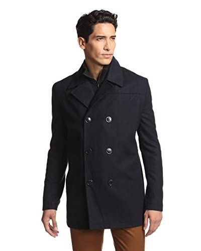 Kenneth Cole Men's Pea Coat with Bib