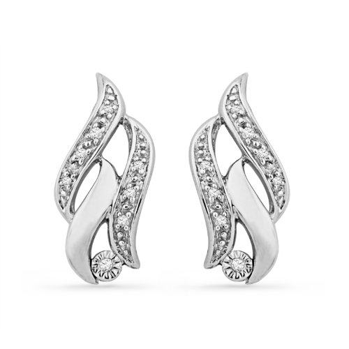 Sterling Silver Round Diamond Twisted Fashion Earring (1/20 cttw)