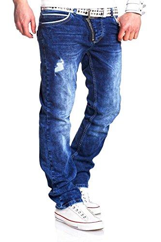 MT Styles Jeans Side-Zip Hose RJ-2044 [Blau, W32/L32]