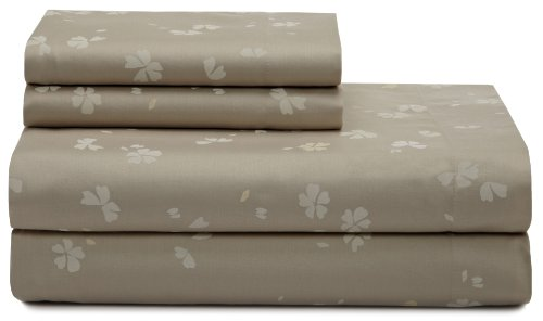Calvin Klein Poppy Falling Petals Queen Sheet Set, Stone front-647274