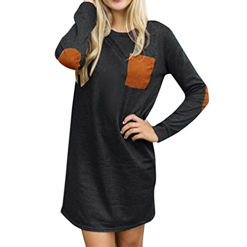GBSELL Womens Ladies Long Sleeve Pocket Casual Loose Short Mini Dress Casual Party (Deep Gray, M)
