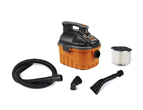 RIDGID Wet Dry Vacuums VAC4000 Powerful and Portable Wet Dry Vacuum Cleaner, Includes 4-Gallon, 5.0 Peak Horsepower Wet Dry Auto Vacuum Cleaner for Car, Dusting Brush, Car Nozzle, and Claw Nozzle (Rigid Portable Vacuum compare prices)