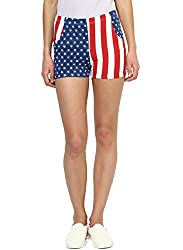 SHORTS WITH US FLAG PRINT-WHITE