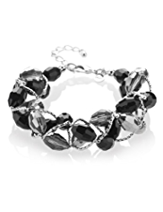 M&S Collection Multi-Faceted Bead Twisted Bracelet