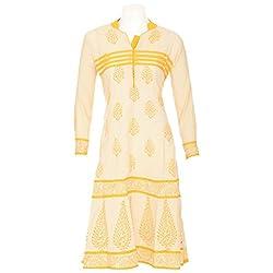 Lal Chhadi Women's cotton 3/4 Sleeve Anarkali Yellow color Batic Print Kurta
