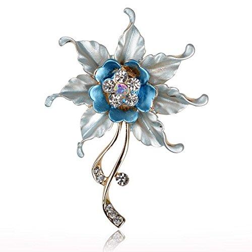 Blue Flower Leaf Crystal Rhinestone Enamel Charm Pin Brooch Bouquet S634K01