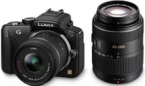 Panasonic Lumix DMC-G3WEG-K Systemkamera (16 Megapixel, 7,5 cm (3 Zoll) Touchscreen, elek. Sucher) Gehäuse schwarz inkl. Lumix G Vario 14-42mm und 45-200mm Objektive