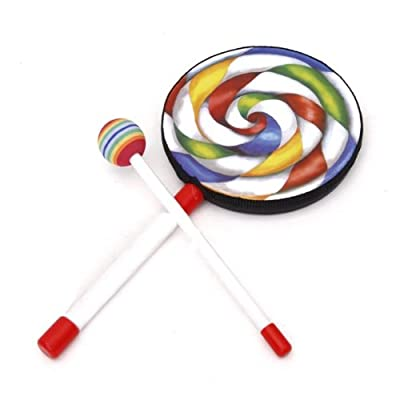 Lolipop-Shape Kids Hand Drum with Mallet Musical Sound Toy---Colorful