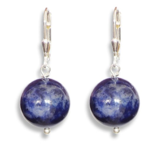 Sodalite Earrings, ErCe, 925 Sterling Silver, Length 3.4 cm in Gift Box