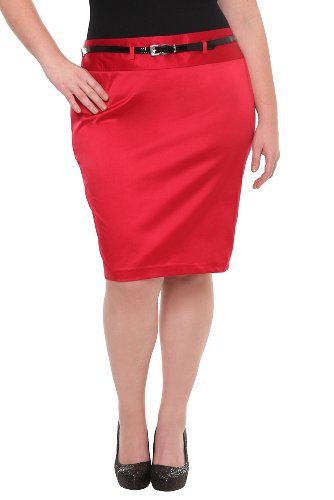 Torrid Plus Size Red Satin Pencil Skirt