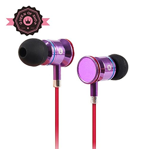 Masma55 Purple Wired Headset Earbuds With Universal 1-Button Control Enhanced Bass For All Iphone Models - Iphone 5S, 5C, 5, 4S, 4 / All Ipad Models With Mic/Control For Android Smartphones