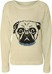 Womens Pug Dog Stud Ladies Long Sleeve Knitted Jumper Pullover Top - 8-14 from PaperMoon