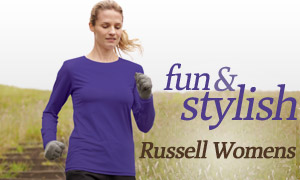 Women Jogging Wearing Russell Athletic Campus Long Sleeve