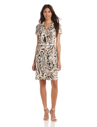 Anne Klein Women's Moire Print Dress, Oak Multi, Petite/Medium