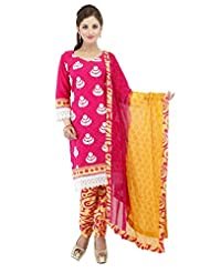 Utsav Fashion Women's Fuchsia Cotton Readymade Churidar Kameez-Medium