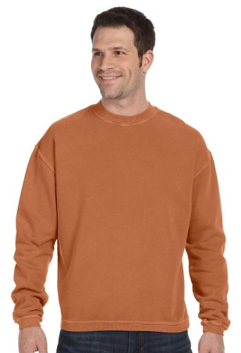 Authentic Pigment Pigment-Dyed Ringspun Cotton Fleece Crew, 2XL, YAM