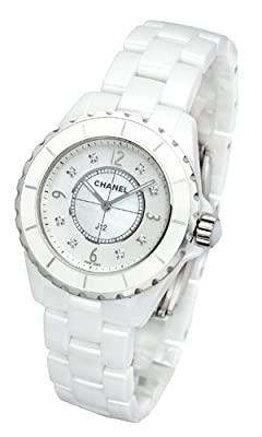 J12 Mother of Pearl Diamond Dial White Ceramic Unisex Watch H3214 by Chanel
