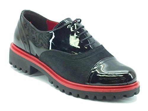 Scarpe per donna Pregunta in vernice e cavallina nera con dettagli rossi (Taglia 40)