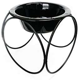 Platinum Pets 4 Cup Olympic Diner Stand with Wide Rimmed Bowl, Black Chrome
